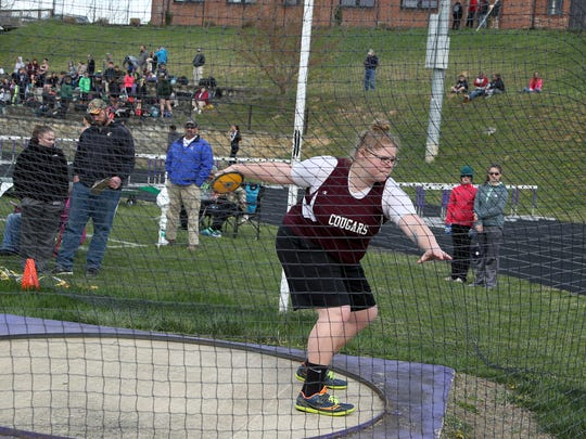 Stuarts Draft's Paetyn Beverly won both the shot and discus at six-team meet in Waynesboro last Wednesday.
