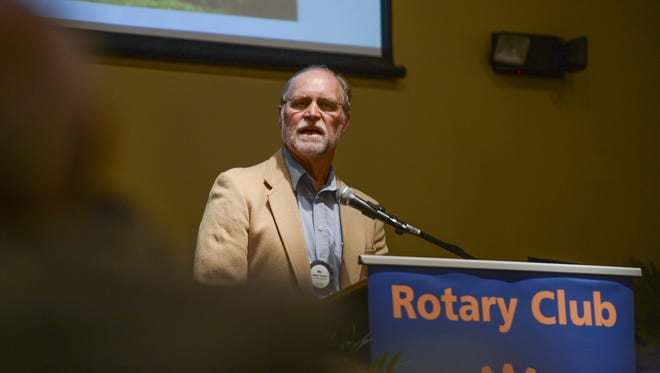 Colorado State University Dr. William Timpson speaks to the Rotary Club of Fort Collins during a scholarship recognition event earlier this year.