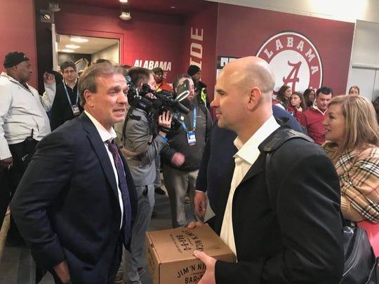 New coaches Jimbo Fisher and Jeremy Pruitt (Photo: @patsmithradio/Twitter screen shot)