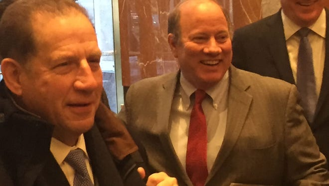 From left: Arn Tellem, Mike Duggan and Matt Cullen in New York City.