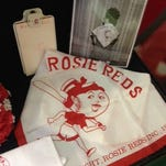 Rosie Red with past president and current Rosie Reds historian Lynne Gibson.
