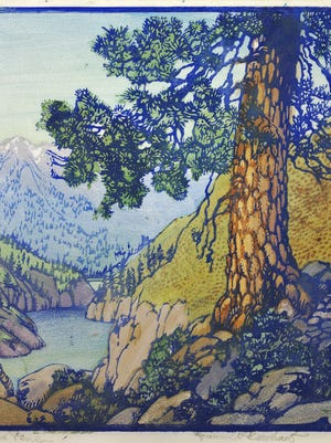 Frances Gearhart, The Old Pine, circa 1930–32, Color block print, 11 ½ x 10 inches,