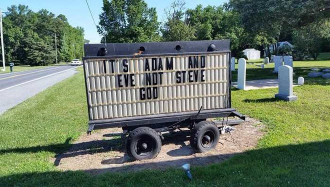 At  Providence United Methodist Church, a movable sign stood for a week with an anti-LGBTQ message. The sign was not authorized by the church, church authorities said.