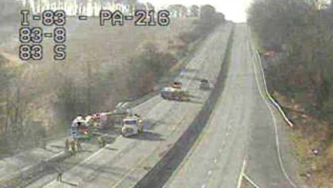 Traffic camera footage of I-83 shows the overturned tractor trailer near the Glen Rock exit.