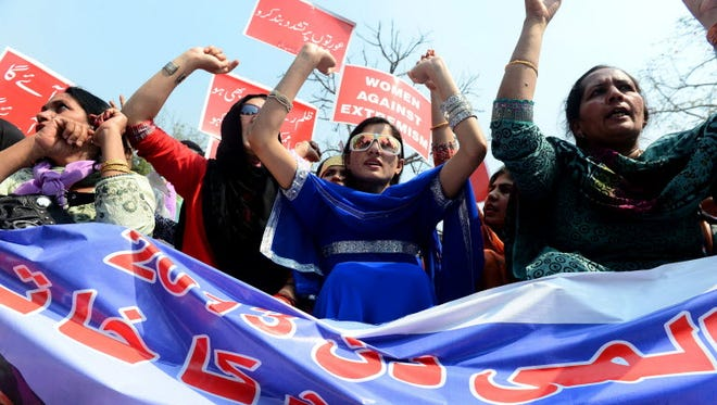 Pakistani women rally for International Women's day in Lahore in 2013.