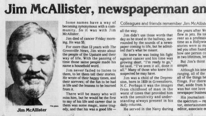An article from the front page of The Greenville News on Sept. 1, 1984.