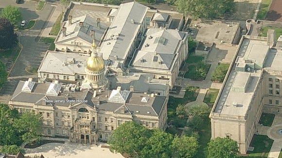 Overhead view of the New Jersey Statehouse complex.