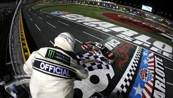 CHARLOTTE, NC - MAY 28:  Austin Dillon, driver of the #3 DOW Salutes Veterans Chevrolet, takes the checkered flag to win the Monster Energy NASCAR Cup Series Coca-Cola 600 at Charlotte Motor Speedway on May 28, 2017 in Charlotte, North Carolina.  (Photo by Jerry Markland/Getty Images)