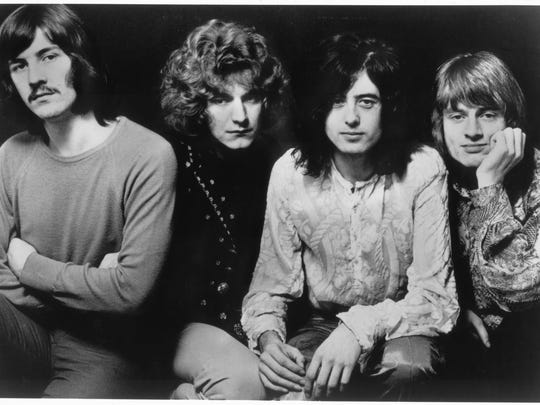 """""""Led Zeppelin 2: The Live Experience"""" at Old National Centre on Sunday will pay homage to classic hard-rockers Led Zeppelin (from left, John Bonham, Robert Plant, Jimmy Page and John Paul Jones)."""