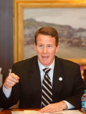Ohio Secretary of State Jon Husted talks with The Enquirer editorial board on March 5.