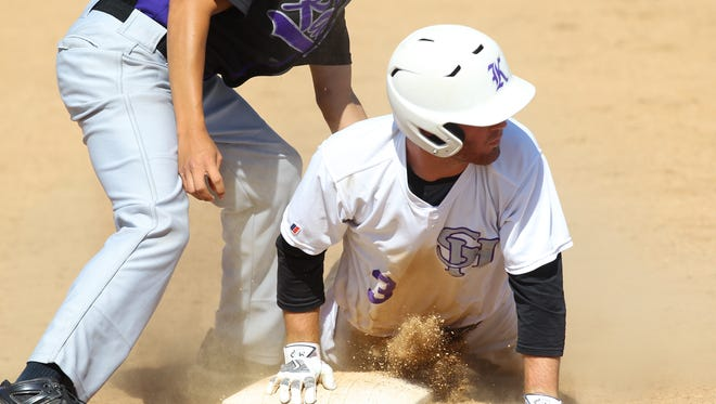 Shadow Hills High School's Christian Wisler is safe at third base against Vista del Lago High School. The Knights won the game in Indio and will continue their CIF run.