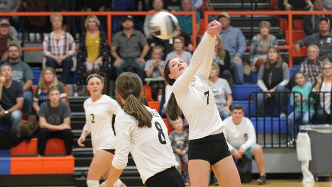 Water Valley High School's Kenzie Jordan (7) passes the ball during a match against Klondike in the Region I-1A Tournament semifinals at Babe Didrikson Gym on the Central campus on Friday, Nov. 10, 2017.