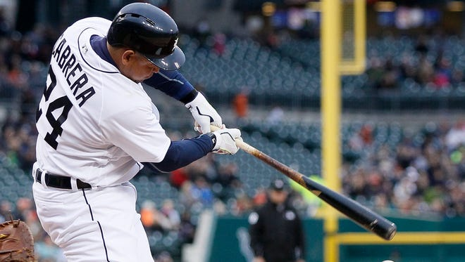 Tigers first baseman Miguel Cabrera grounds out Friday at Comerica Park.