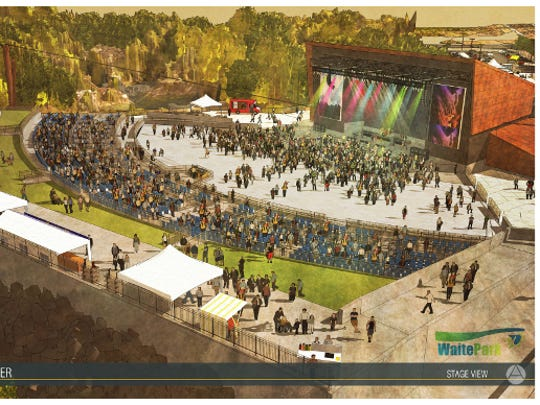 Preliminary designs for the amphitheater in Waite Park, projected to open in 2020.