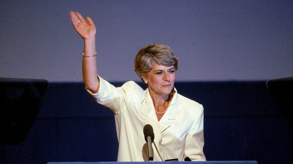 Geraldine Ferraro waves to the crowd at the 1984 Democratic