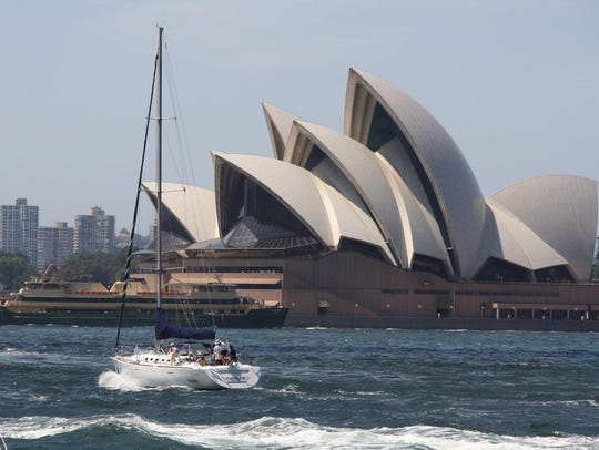 The world famous Sydney Opera House on Bennelong Point.