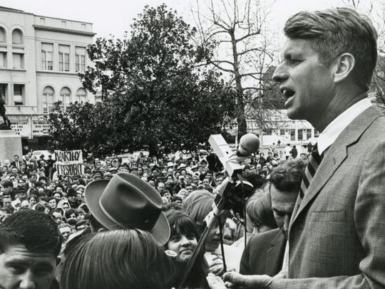 Robert Kennedy is seen speaking at the Marion County