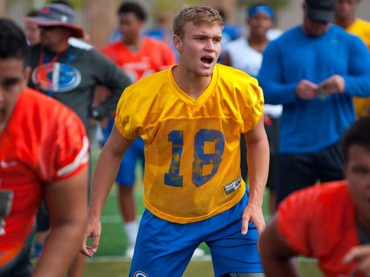 Bishop Gorman Gaels quarterback Tate Martell (18) calls