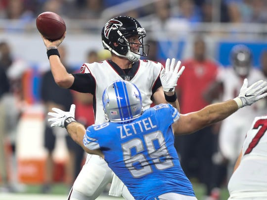 Lions DE Anthony Zettel pressures Falcons QB Matt Ryan in the first quarter Sunday, Sept. 24, 2017 at Ford Field.