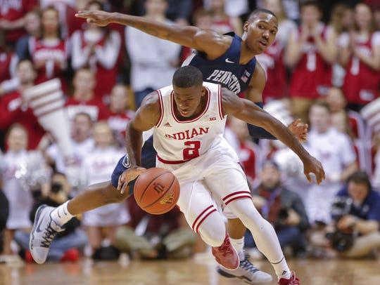 Indiana Hoosiers guard Josh Newkirk (2) dribbles the
