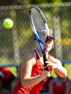 Harding sophomore Maggie Pitts returns a volley during a non-league match with Big Walnut last week. Harding won the MOAC Girls Tennis Tournament for the third straight year and Pitts earned first-team all-league honors by winning in No. 1 singles.