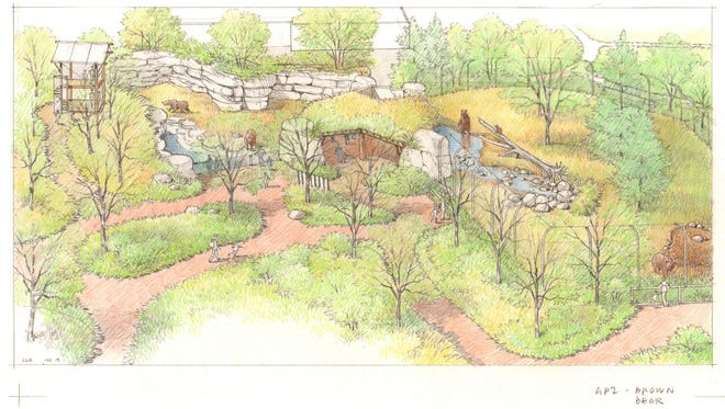 Renderings of the expanded Bear Canyon exhibit at the Great Plains Zoo and Delbridge Museum of Natural History.