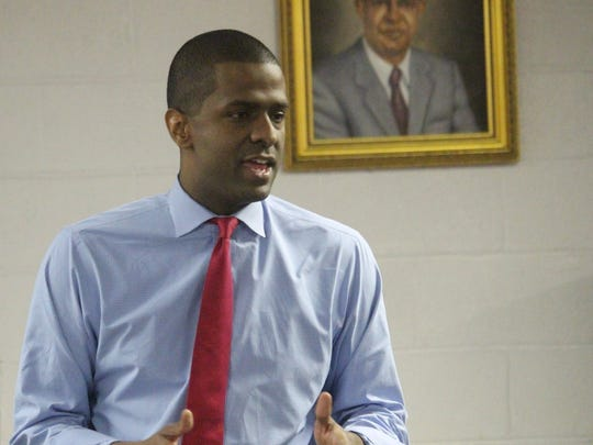 Bakari Sellers, a former state legislator and current CNN contributor, campaigns Tuesday night for Democratic congressional candidate Mary Geren at the Westside Community Center in Anderson.