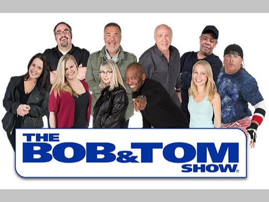 "The 2018 cast of ""The Bob & Tom Show"" includes, clockwise"