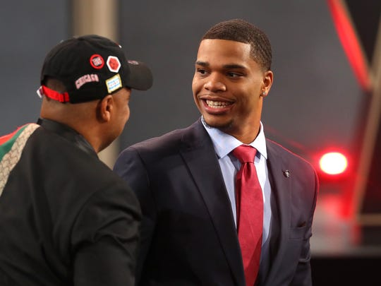 Michigan State's Miles Bridges reacts after being drafted 12th overall by the Los Angeles Clippers Thursday during the 2018 NBA Draft at the Barclays Center. He was promptly dealt to the Charlotte Hornets.