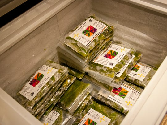 Frozen Sandia whole green chiles await fans at the