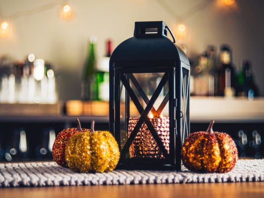 Autumnal decorations on dining room table