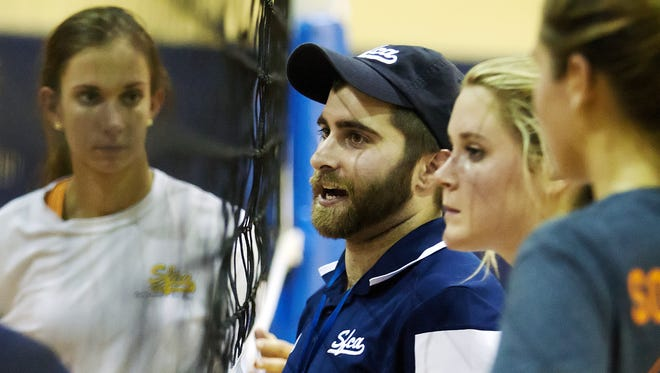 Southwest Florida Christian Academy volleyball coach Brad LaFlamme leads practice Friday , Aug. 15 at SFCA in Fort Myers.