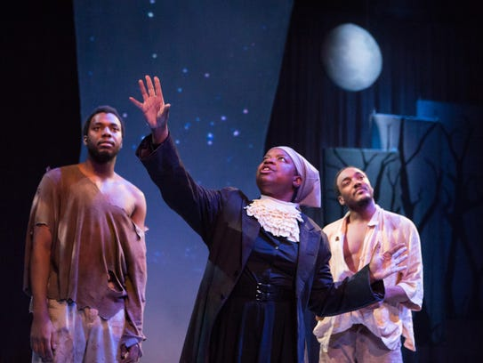 Harriet Tubman (Abigail A. Ramsay) leads slaves Sampson,