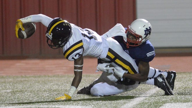Former Neville wide receiver Quentin Guice caught a touchdown pass in his debut for Grambling last weekend.