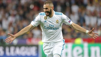 Real Madrid's Karim Benzema celebrates after scoring during the UEFA Champions League final between Real Madrid and Liverpool FC.