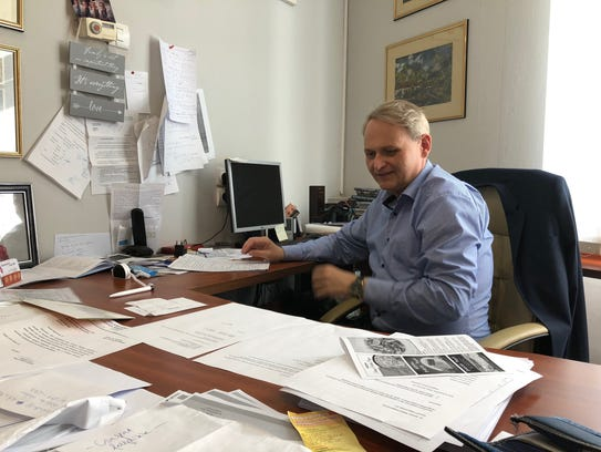 Robert Molnar, the mayor of Kubekhaza, a border village in Hungary, in his office on April 13.