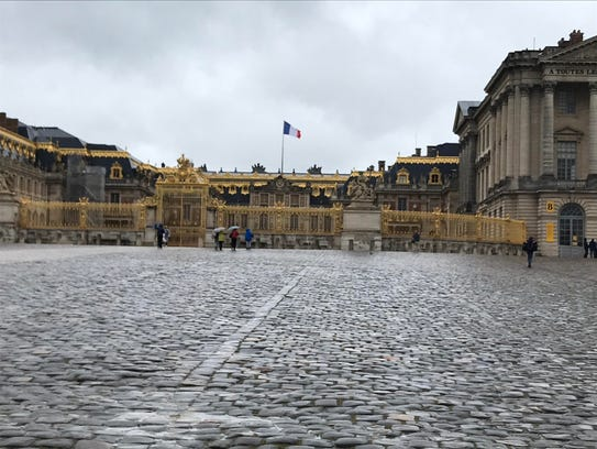 Outside the Palace of Versailles in France.