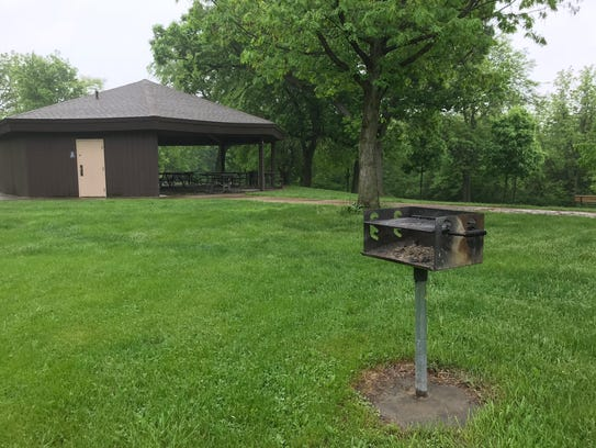 A grill at Hickory Hill Park is shown in Iowa City