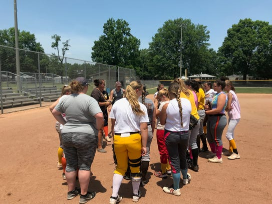 Coleman talks to her players before they get practice