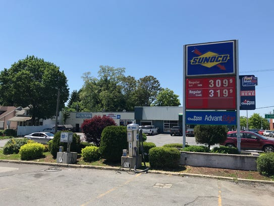 A sign at a Sunoco station in the city of Poughkeepsie