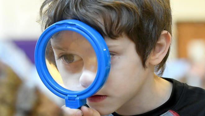 Paxton Albrecht, a preschooler at Western Elementary, gets a closer look at pieces of wood using a magnifying glass.