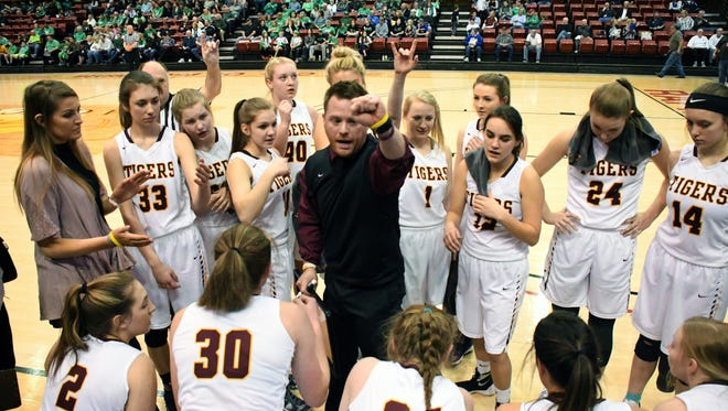 The Harrisburg Tigers during Thursday's quarterfinal against No. 8 Pierre.