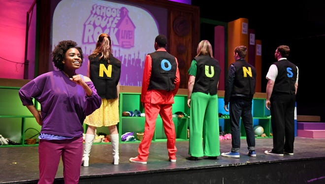"""Dori (Alexis Johnson) reminds us that """"A Noun is a Person, Place or Thing"""" in TheatreTCC's """"Schoolhouse Rock Live."""""""