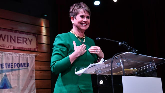Former longtime Nashville TV anchor Demetria Kalodimos accepts the Powerhouse Award from victims rights group You Have the Power on April 17, 2018, at City Winery in Nashville.
