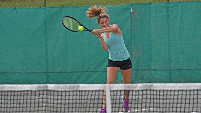 Lexington's Sylvia Goldsmith rifles a forehand return en route to winning the girls 18 title in the 85th News Journal/Richland Bank Tennis Tournament at Lakewood Racquet Club.