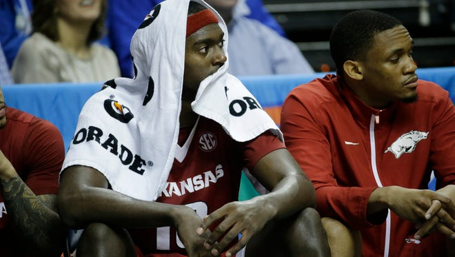 Arkansas forward Bobby Portis sits on the bench during the second half of the Razorbacks' 78-63 loss to Kentucky in the SEC championship game on Sunday in Nashville, Tenn.
