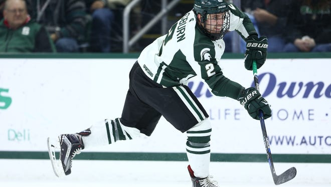 MSU freshman defenseman Zach Osburn has drawn comparisons to a young Torey Krug during his first semester at MSU, where he's tallied four goals and eight assists.