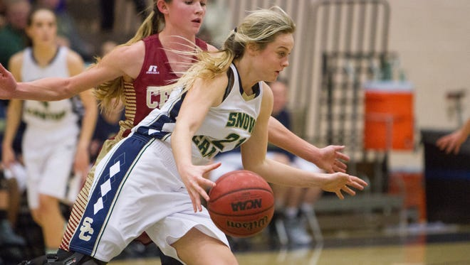 Snow Canyon point guard Madison Mooring scored 17 points grabbed seven rebounds and dished out four assists in the Warriors' 56-53 victory over Cedar.