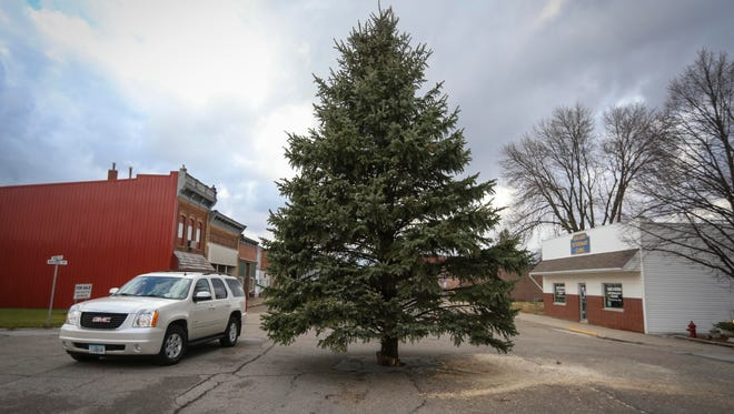 A vehicle passes the city Christmas tree on Monday, Nov. 28, 2016, in downtown Slater, Iowa. The small town of Slater each holiday season plants a giant Christmas tree in the middle of Main Street downtown.