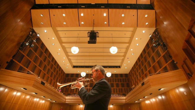 Doug Prosser, principal trumpet player for the RPO, plays in Hatch Recital Hall near Kodak Hall in downtown Rochester Monday, April 3, 2017.